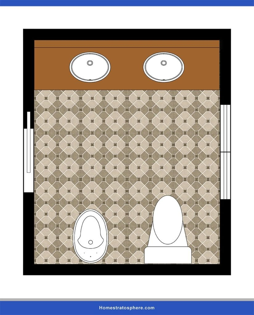 This is a powder room that has dual sinks with commode and bidet.