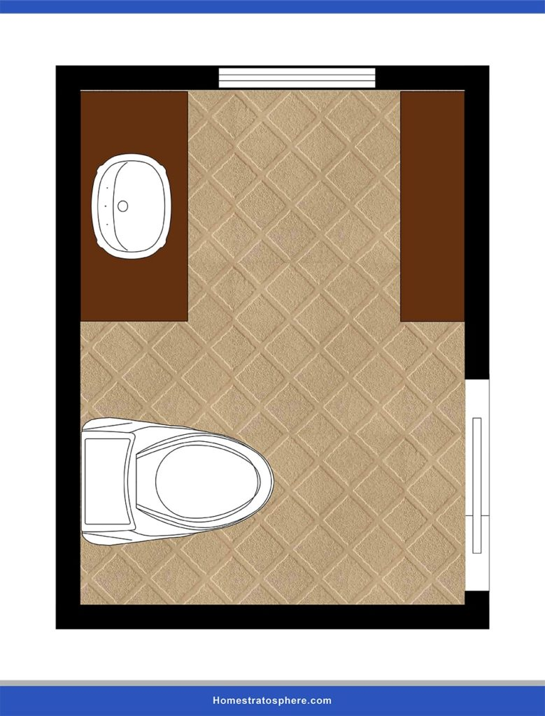 This is a design lay-out of a powder room for a narrow space.