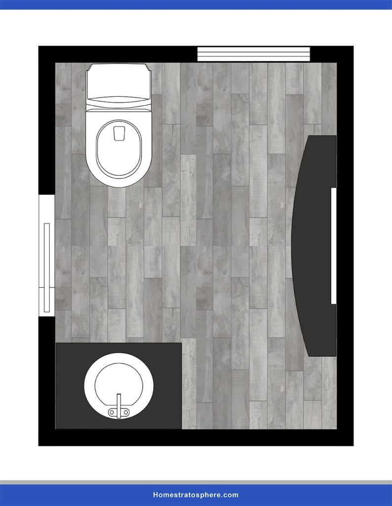 This is a specific powder room layout that maximizes both light and privacy.