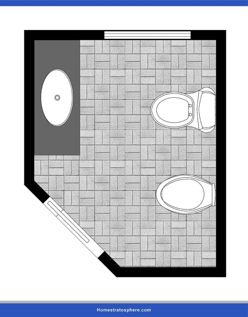 This is a powder room lay-out designed with a diagonal door.