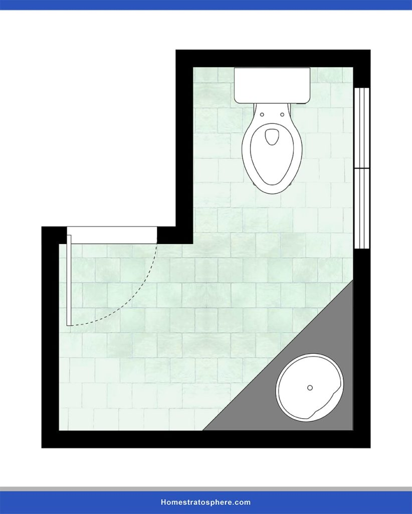 An L-shaped powder room design lay-out.