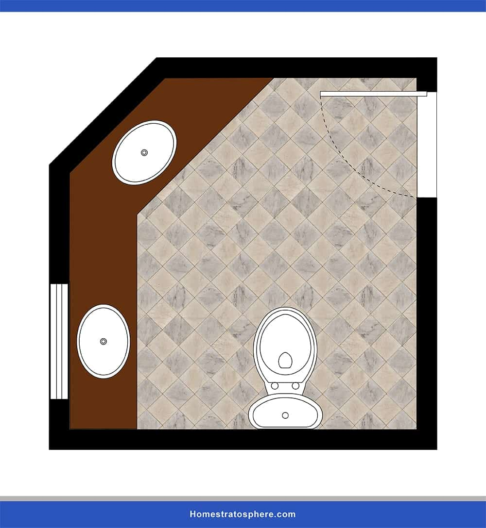 This is a powder room design lay-out that optimizes corner space.