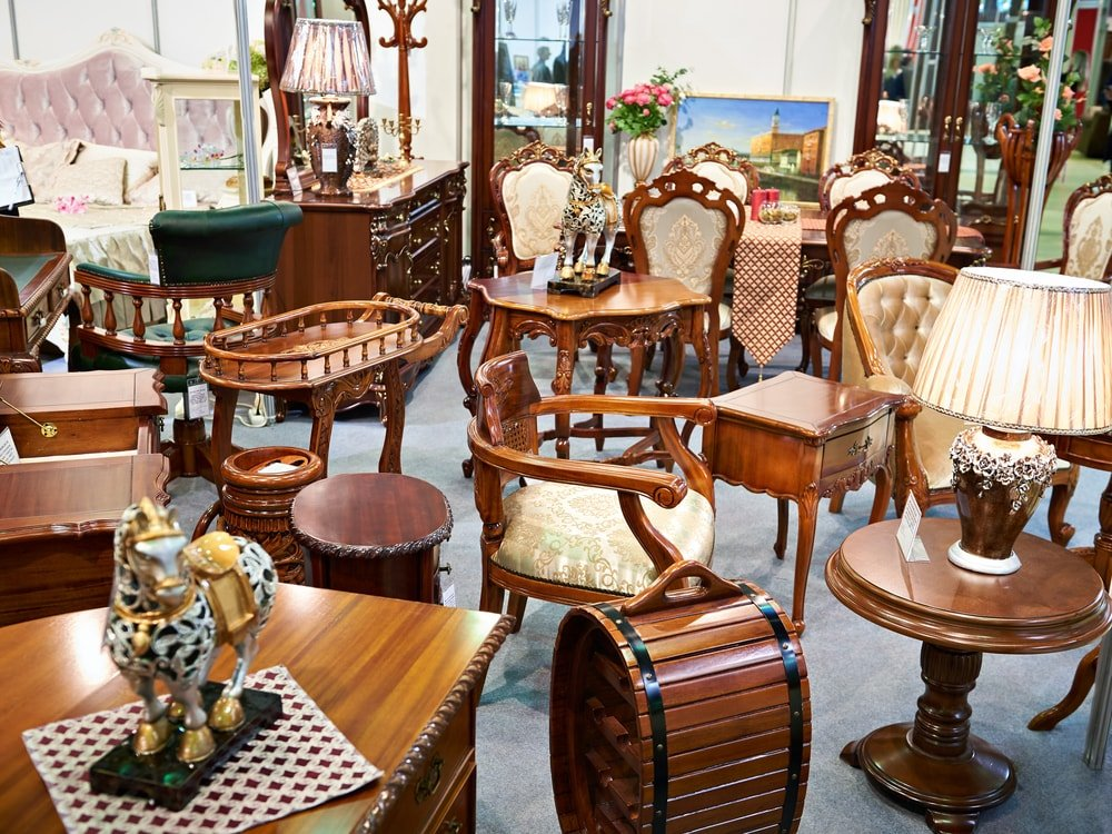 Antique furniture in a store.