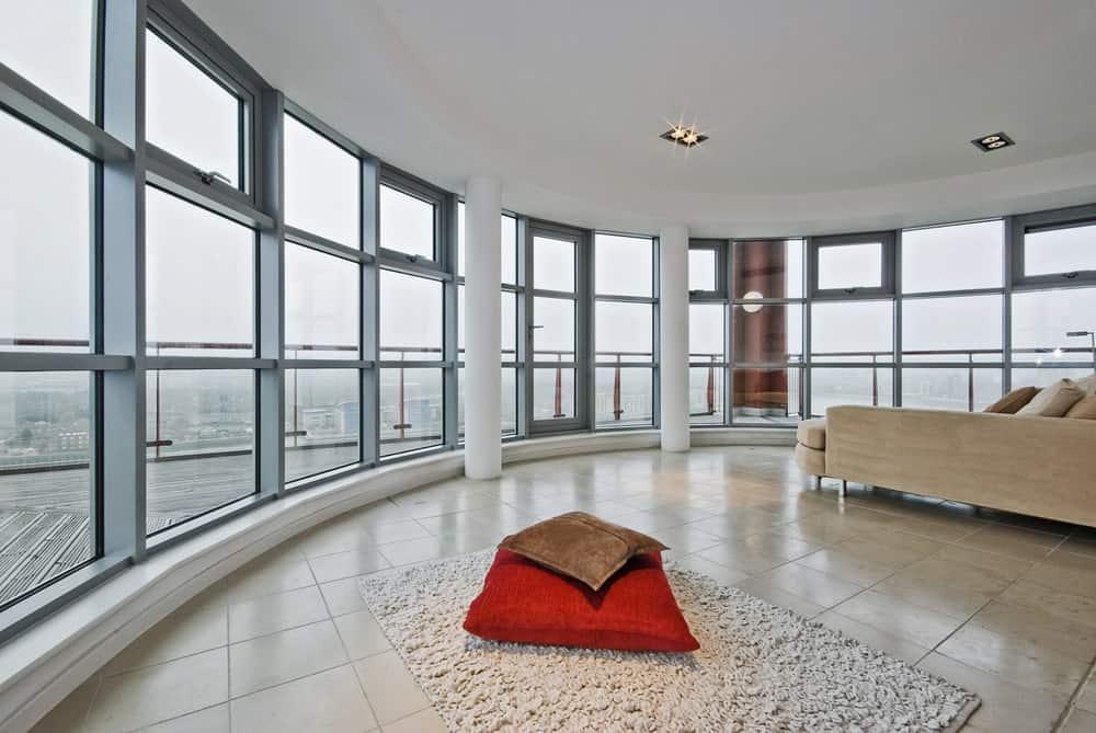 Full height aluminum windows on a modern house.