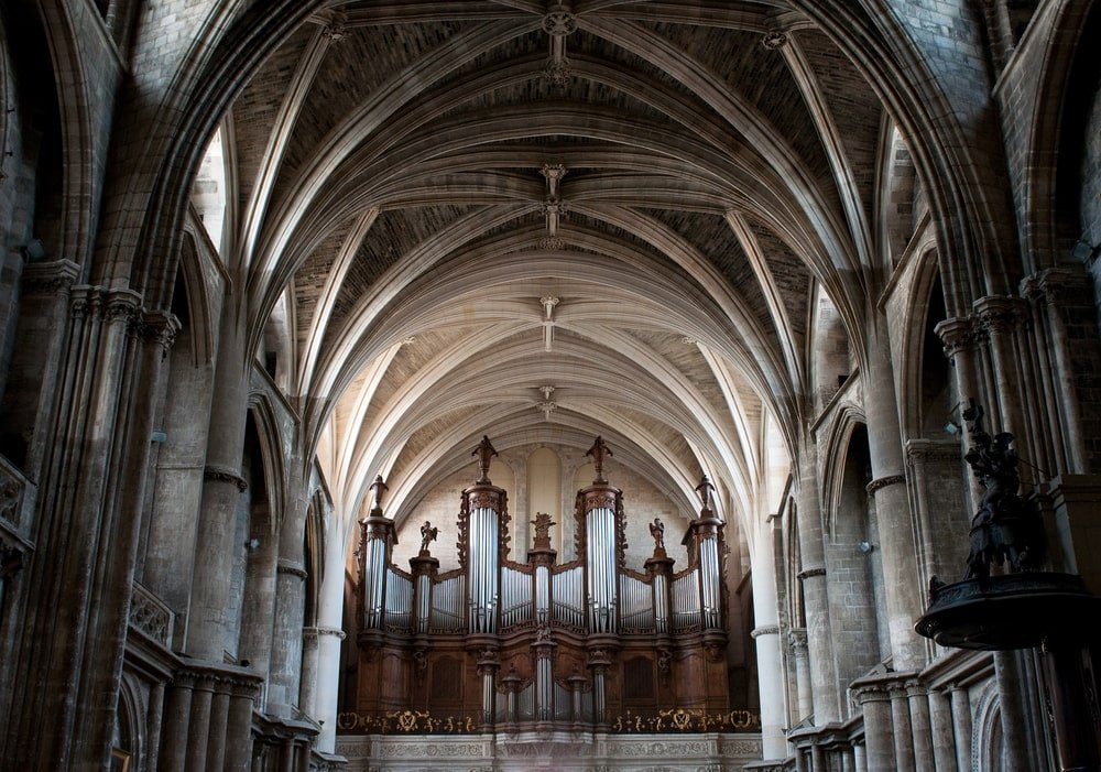 Cathedral interior with groin vault ceiling.