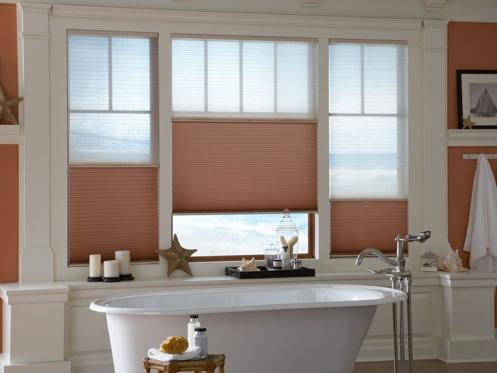 A focused look at this primary bathroom's windows featuring window shades. It also offers a freestanding tub.