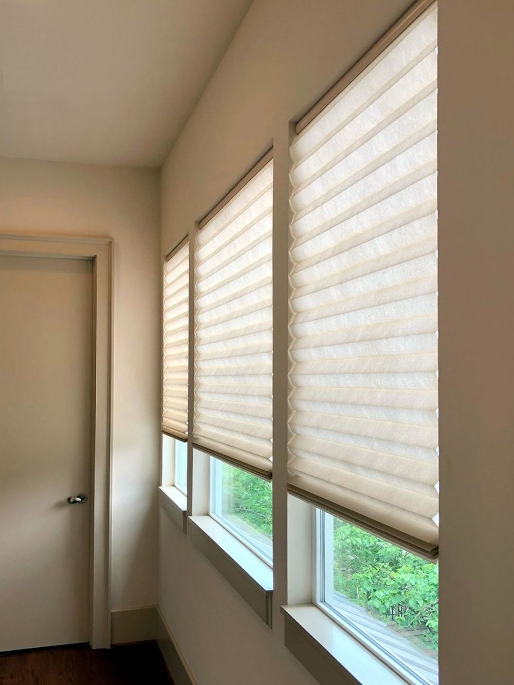 A focused look at this home's glass windows featuring window shades. The house also features hardwood flooring.