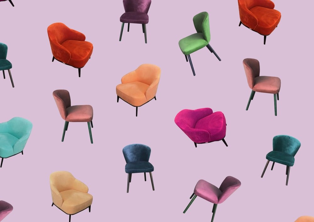 Different chair styles on retro colors.