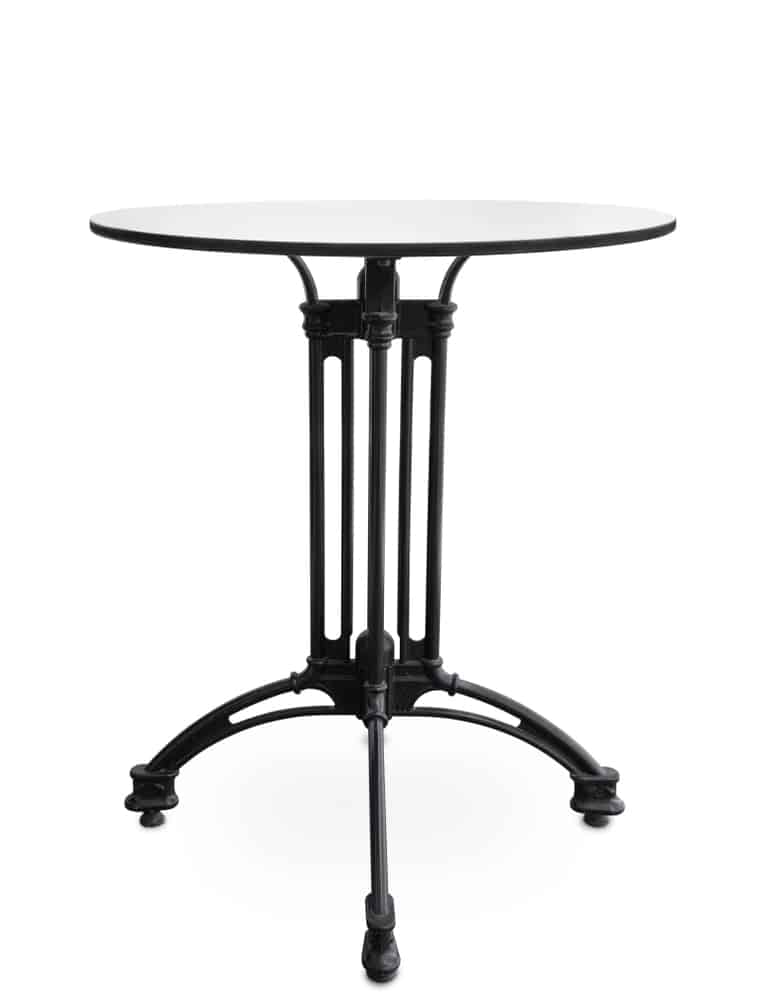 A handsome round cocktail table with wrought iron legs on a white background.
