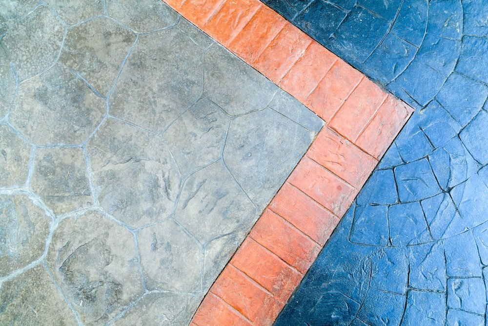 Colorful stamped concrete floor.