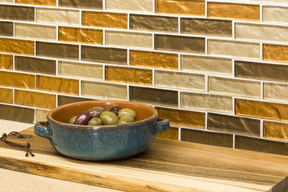 Contemporary mosaic tile kitchen backsplash.