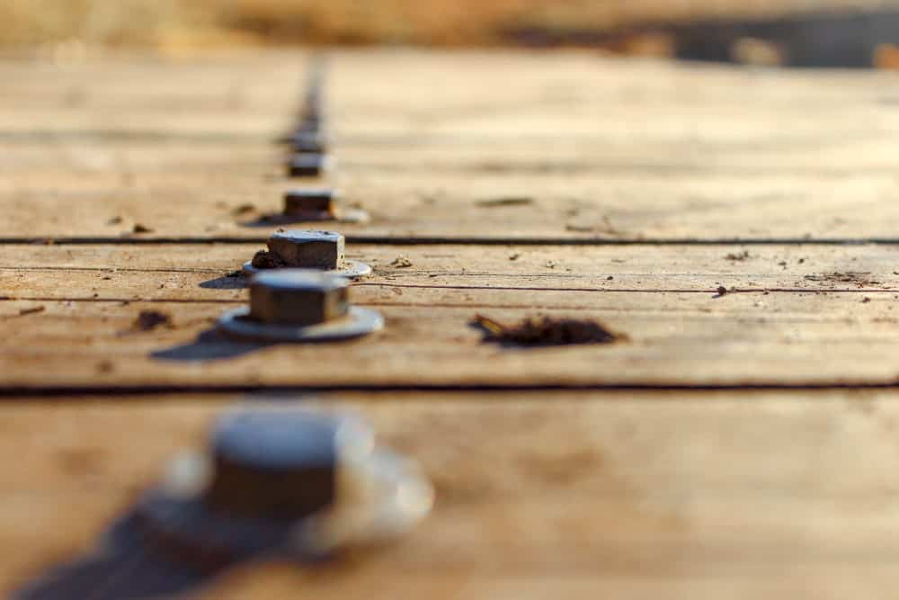 A row of exposed deck screw heads on an outdoor wooden deck.