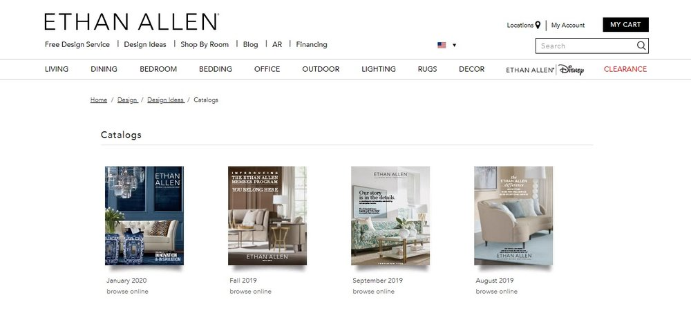 A screenshot of Ethan Allen catalog page.