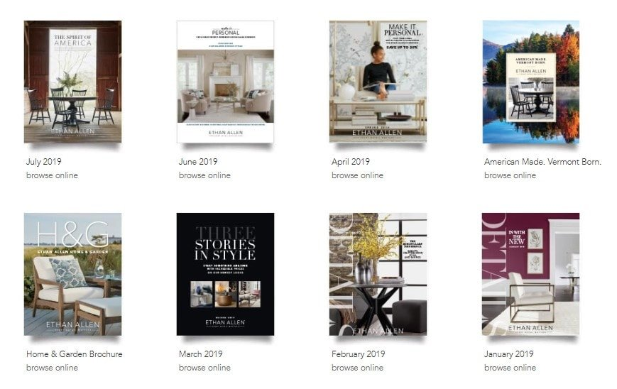 A screenshot of Ethan Allen's catalog page.