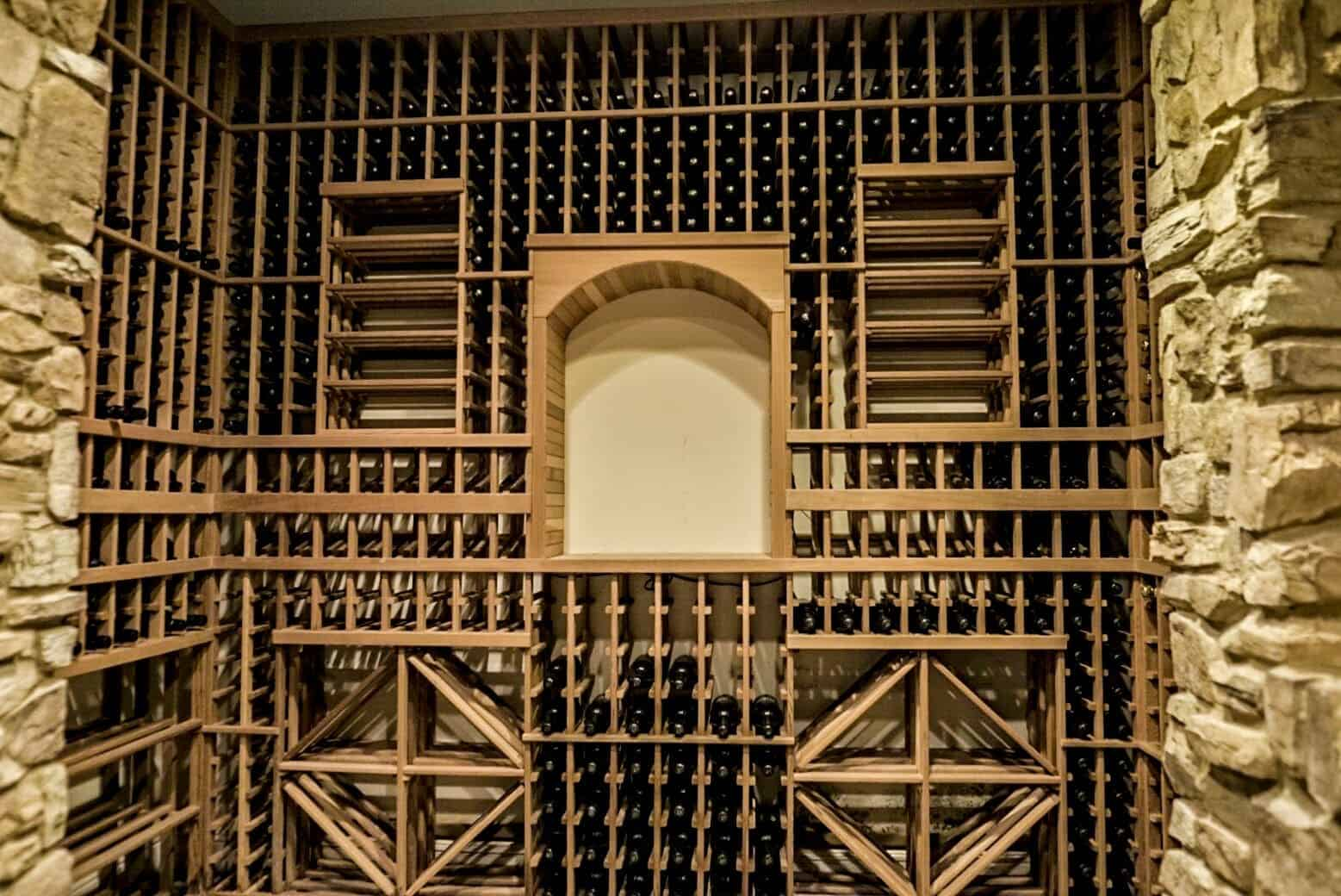 A closer look at the wine cellar's amazing wine racks that can store hundreds of bottles. Images courtesy of Toptenrealestatedeals.com.