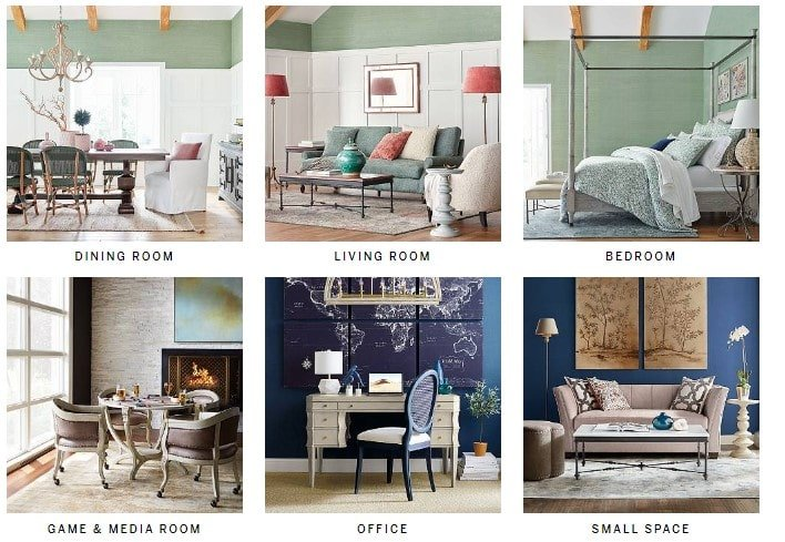 Here's an assortment of choices you can see in Frontgate Furniture store, ranging from dining rooms to bedrooms.
