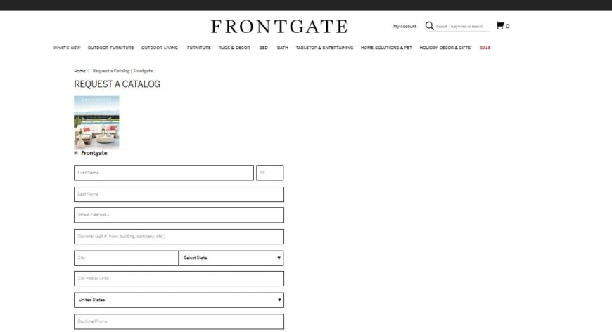 Here's the request catalog form that customers have to fill up if they wish to get a Frontgate catalog.