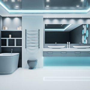 Futuristic bathroom interior.