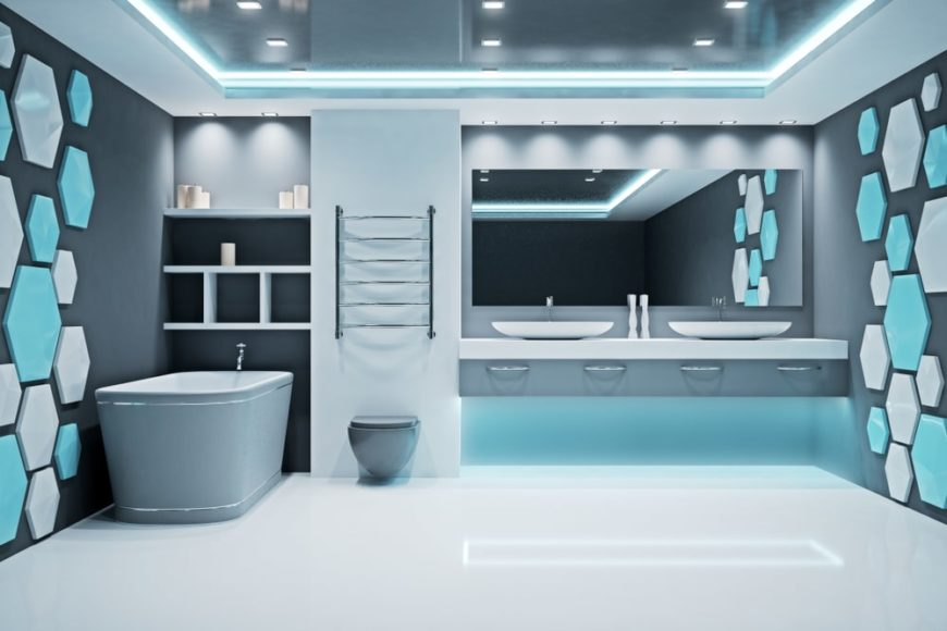 Futuristic bathroom interior.