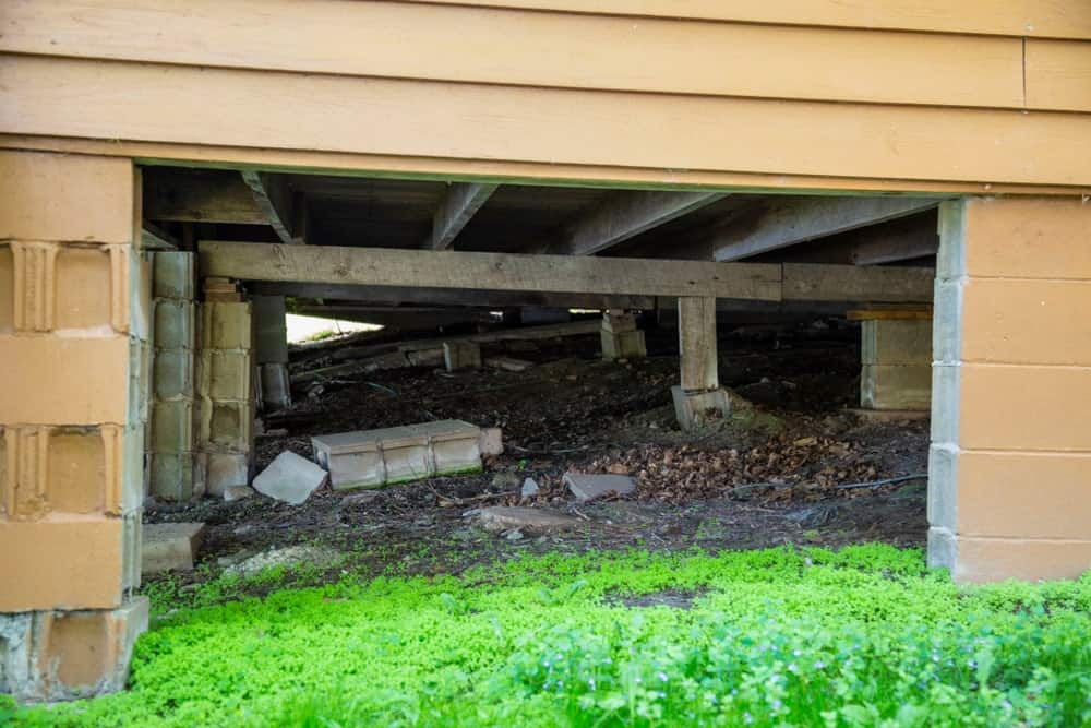 A view at the house cabin's underneath showing its structure and foundation.
