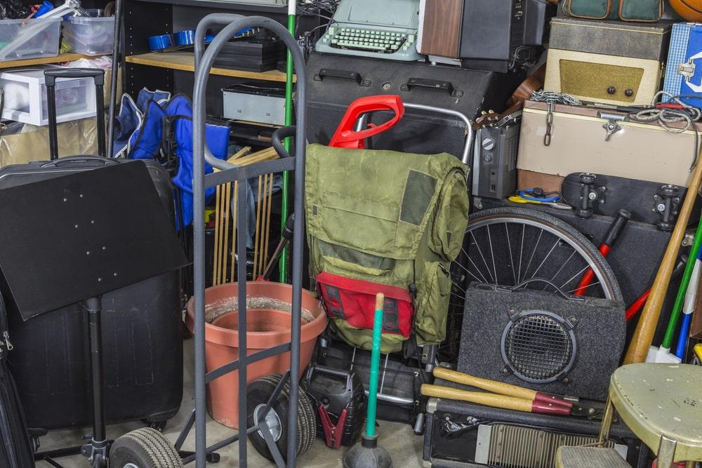 Storage garage filled with junk.