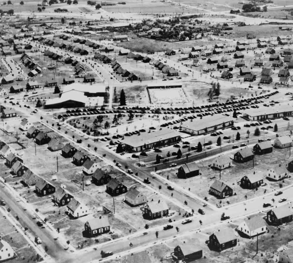 Aerial view of Levittown, NY in 1953.