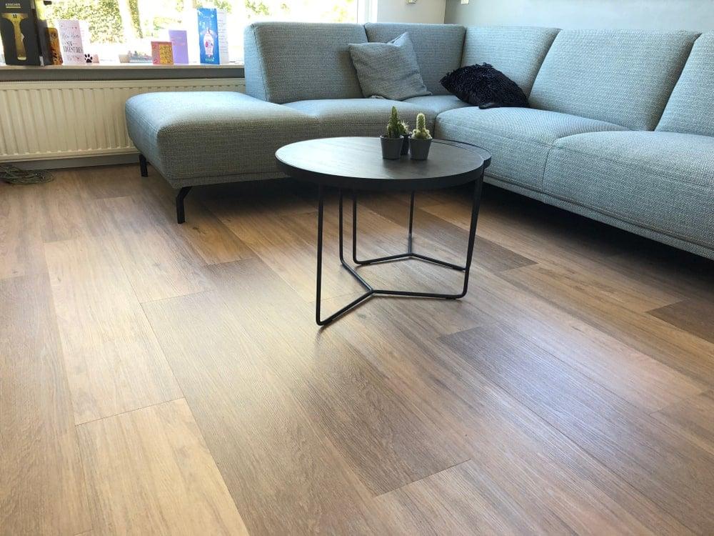 Living room with vinyl flooring.