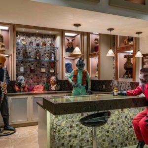 The bar area boasts Star Wars-inspired decors along with a modern bar counter. Images courtesy of Toptenrealestatedeals.com.