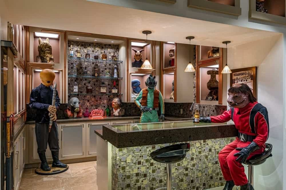 Inside of Luke Skywalker's Spectacular Star Wars Mansion. This photo the bar in the basement area where the casts lived.