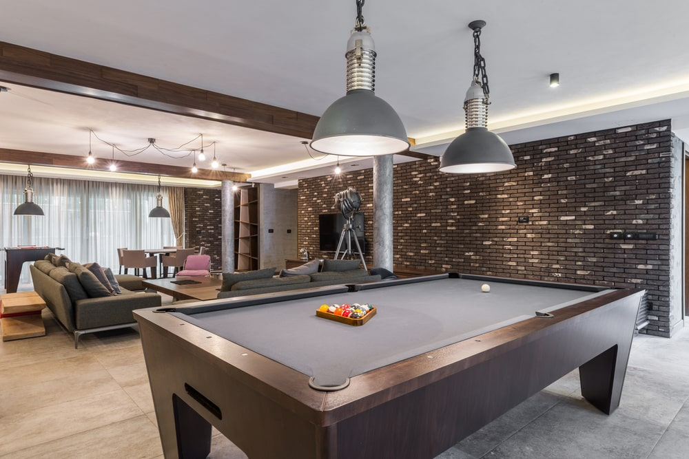 Luxury living room with a billiard table.