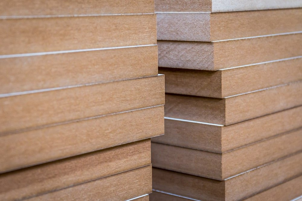 Stack of MDF boards.