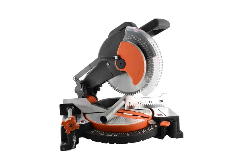 A handsome piece of heavy-duty mitre saw on a white background.