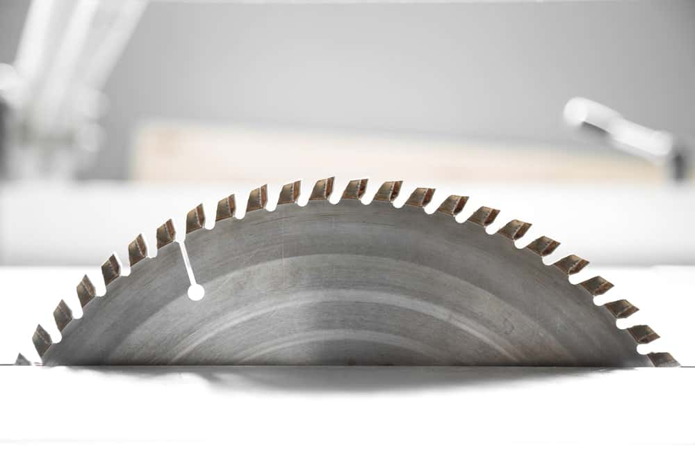 A close-up shot of a Wood Plunge Saw Blade in a stationary state.