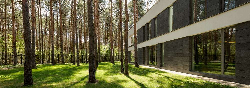 Rectangular detached house in the woods.