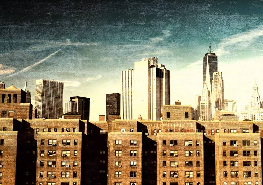 Vintage view of the New York City skyline.