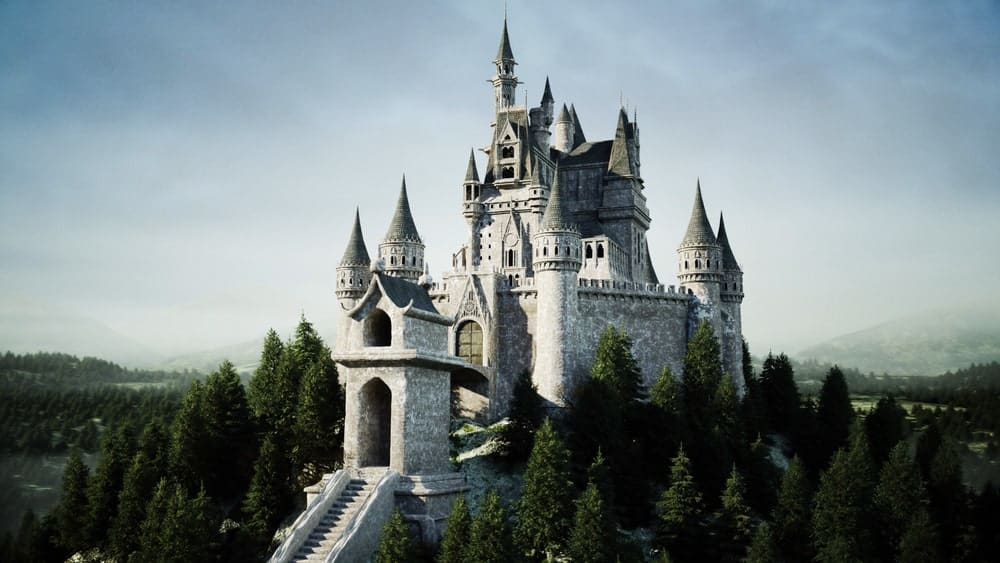 A look at an old fairytale-like castle surrounded by a gorgeous surrounding.