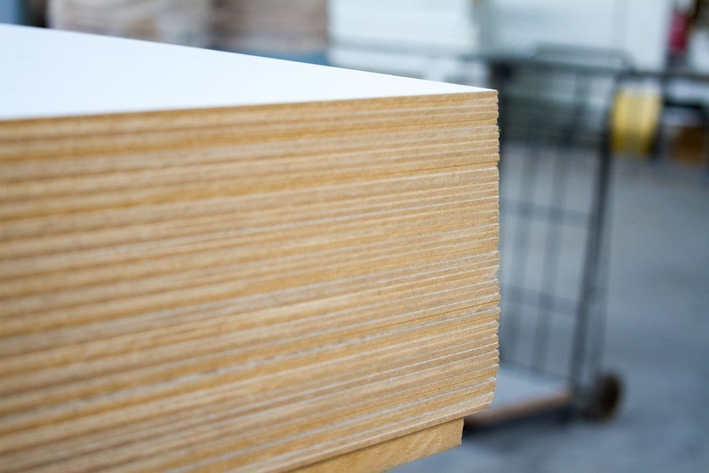 Stack of MDF board panels.