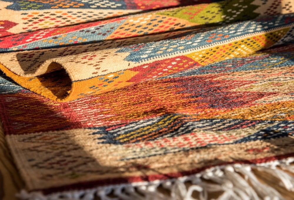 Closeup of a Berber carpet.