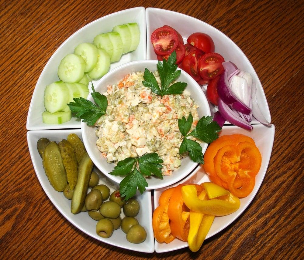 Food served on porcelain dish Lazy Susan.