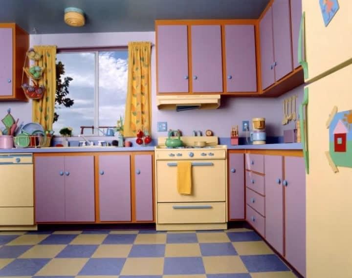 Purple retro kitchen design.