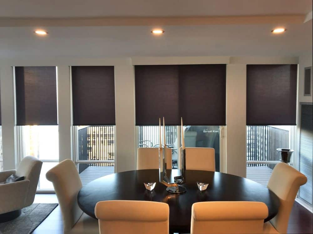 A dining room boasting a classy oval-shaped dining table and chairs set. The area has a tray ceiling lighted by recessed lights. The vertical glass windows also feature window shades.