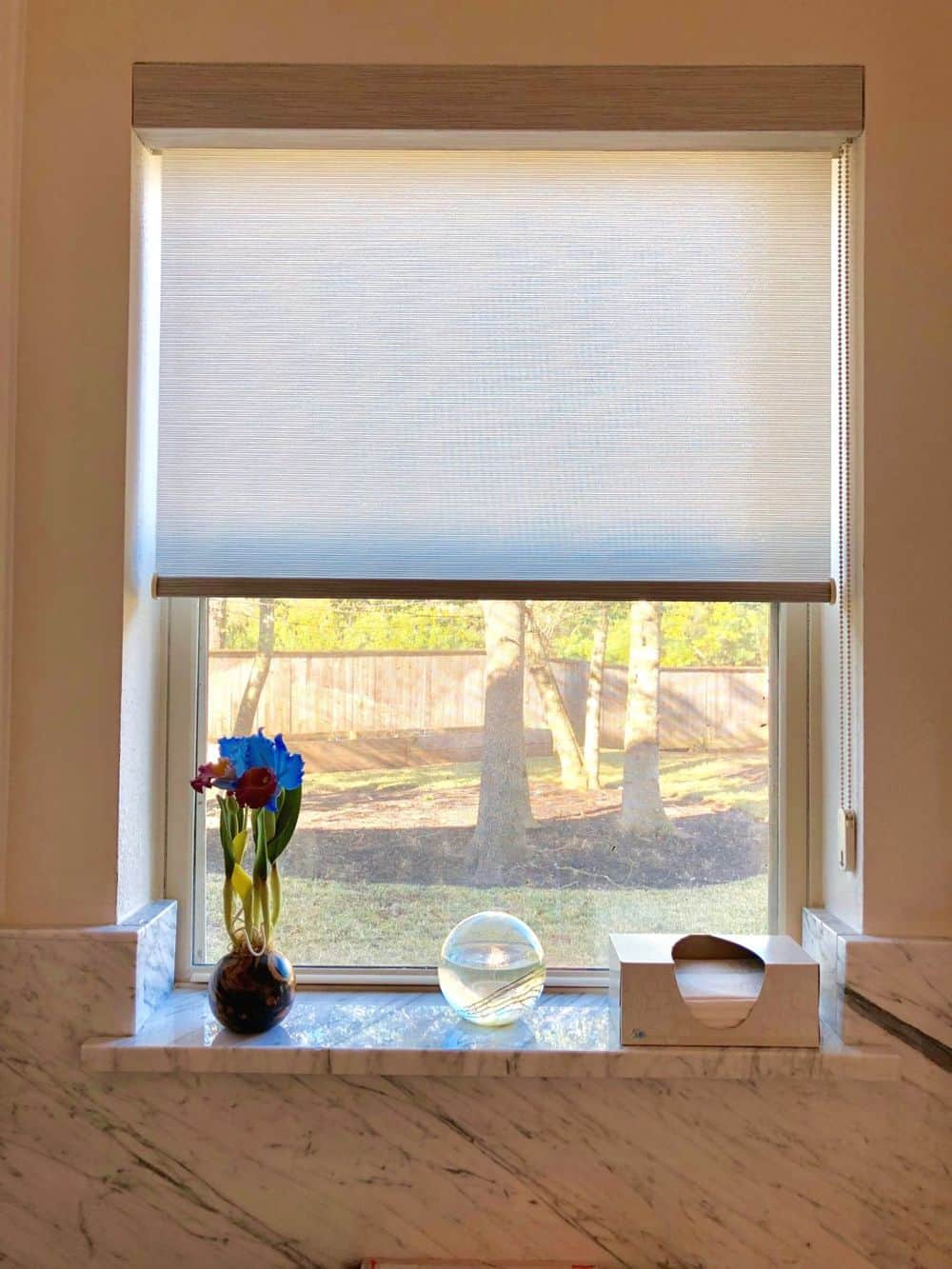 A focused look at this bathroom's glass window with a window shade. The bathroom features beige walls too.