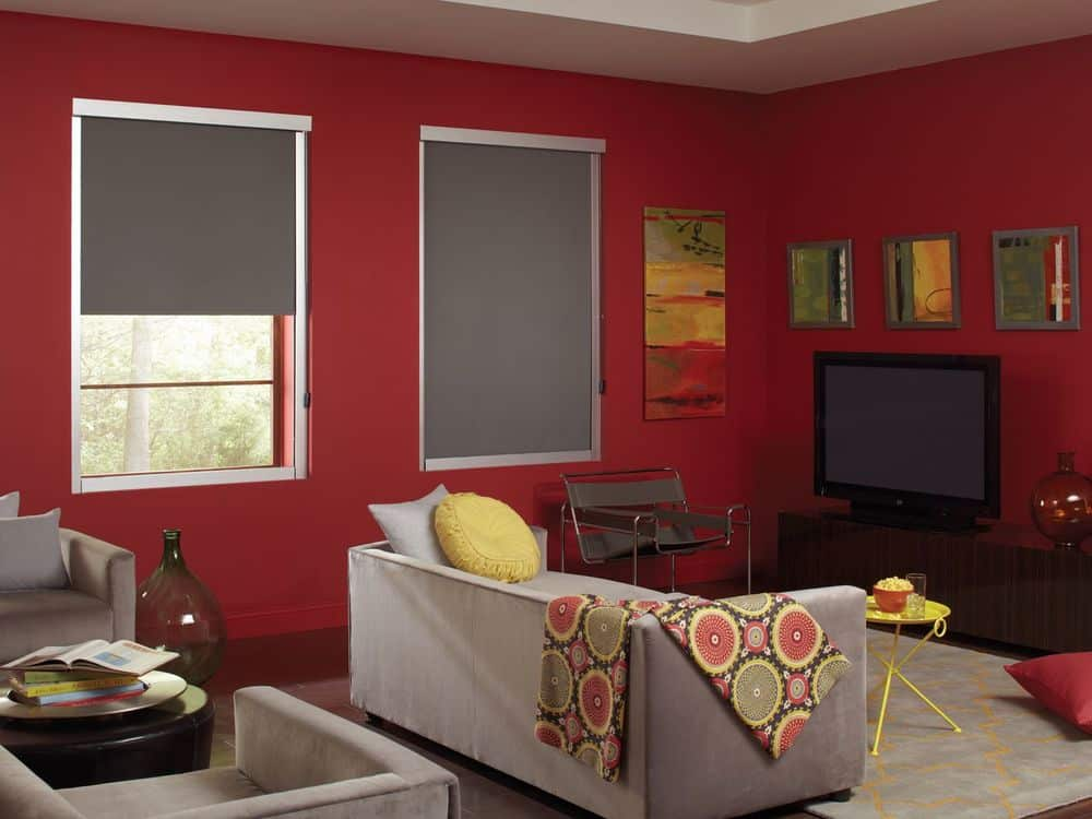 A living space boasting a set of modern gray seats surrounded by red walls, hardwood floors and a white tray ceiling. The room has windows with window shades, along with multiple wall decors.