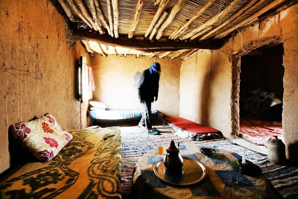 Berber room interior in Sahara desert.