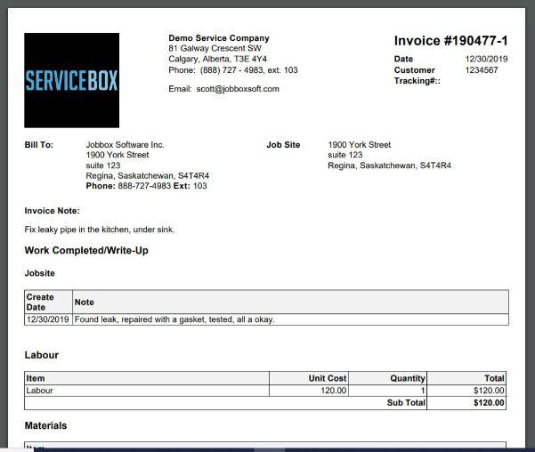ServiceBox Invoice PDF