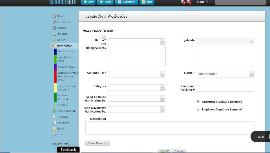 ServiceBox Work Order Screen