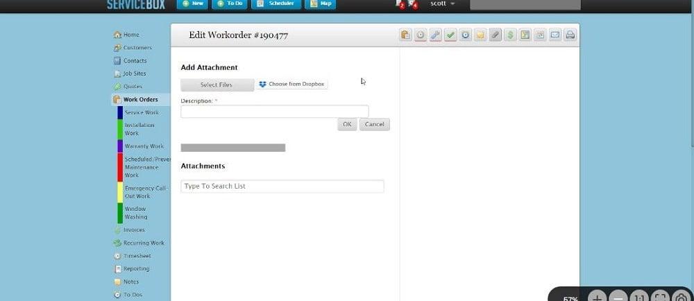 ServiceBox Work Order Attach