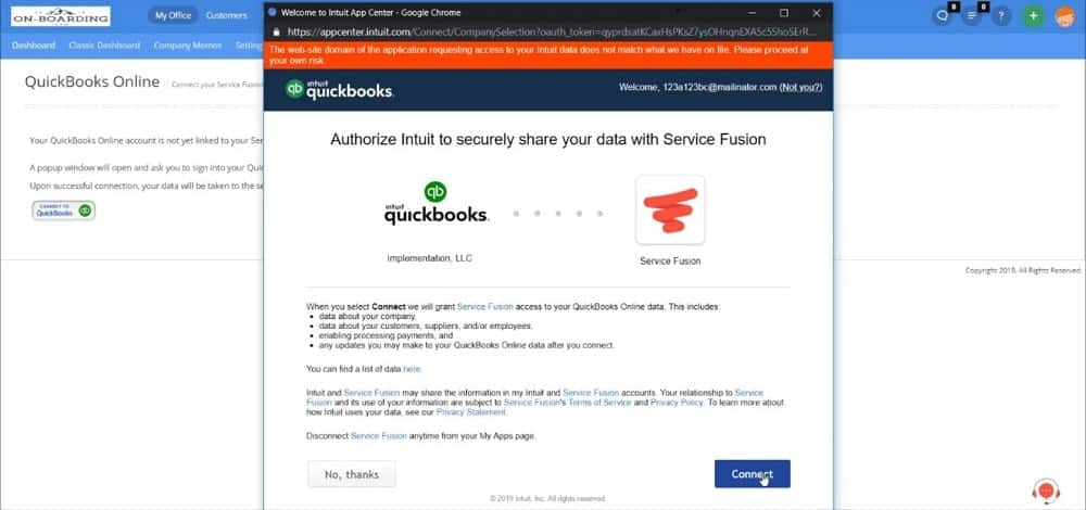 Service Fusion and Quickbooks integration screenshot