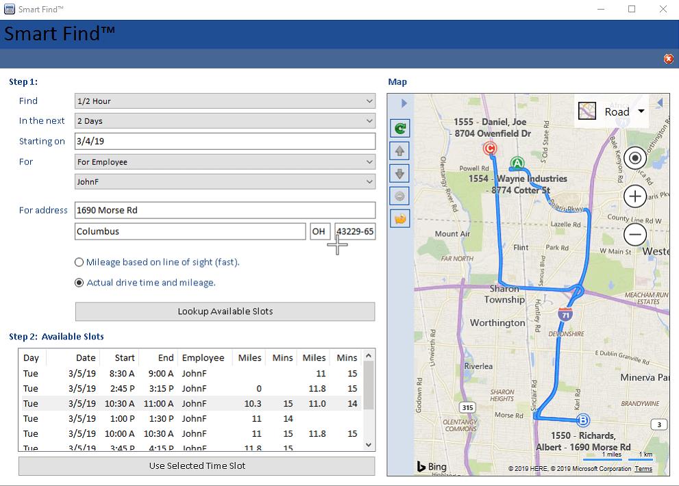 Smart Service route optimization window
