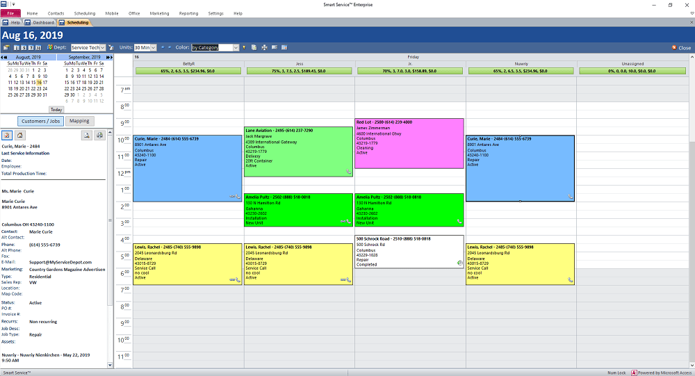 Smart Service scheduling calendar screen